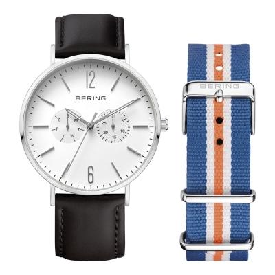 BERING丹麥精品手錶 雙眼日期顯示系列 銀x黑色真皮/藍白橘尼龍錶帶套組40mm