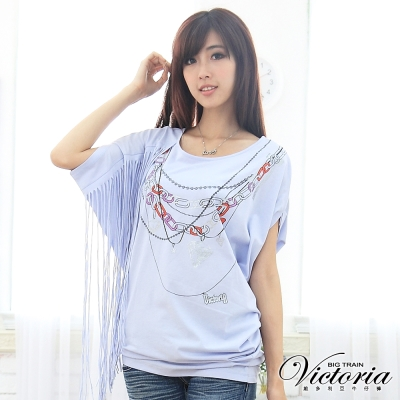 Victoria 單肩流蘇項鍊印花TEE-女-淺藍