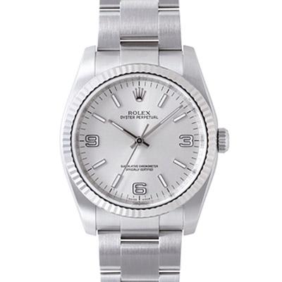 ROLEX 勞力士 Oyster Perpetual 116034 蠔式恆動腕錶-銀/36mm
