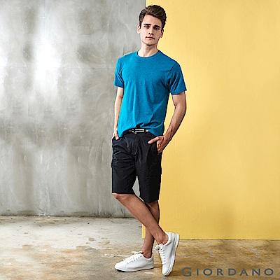 GIORDANO 男裝附腰帶COOLMAX素色口袋卡其短褲-09 標誌黑