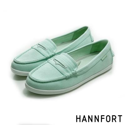 HANNFORT CALIFORNIA帆布氣墊樂福鞋-女-淺水藍