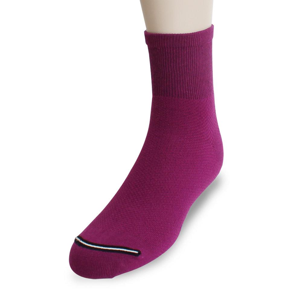 裕發 90°直角不滑落透氣網孔1/2休閒襪(25~28cm)3入-紫紅