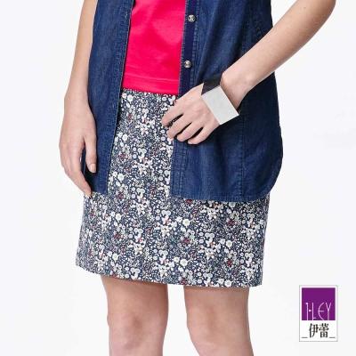 ILEY伊蕾-純棉花卉直筒修飾短裙