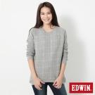 EDWIN 格紋剪接拉克蘭厚長袖T恤-女-麻灰