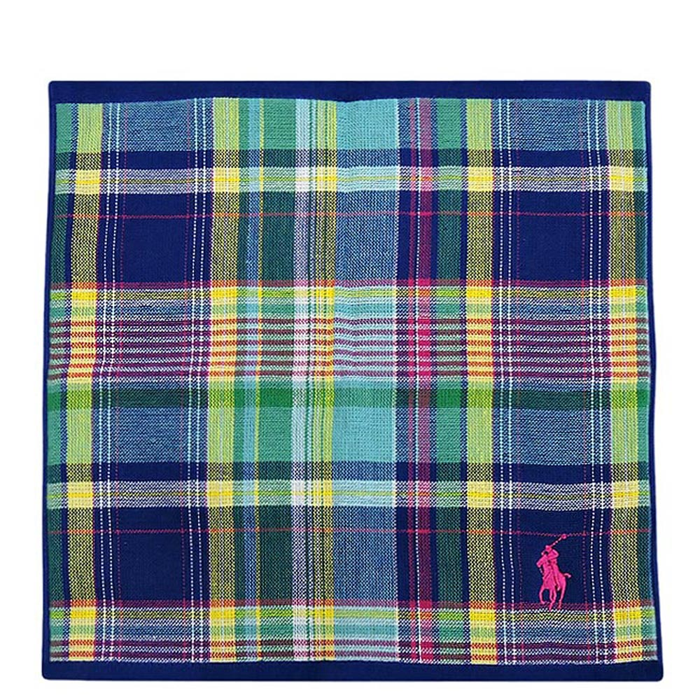 RALPH LAUREN 藍色格紋純棉雙面帕巾