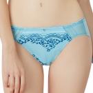 思薇爾 啵時尚花心思系列M-XXL蕾絲中低腰三角內褲(礦水藍)