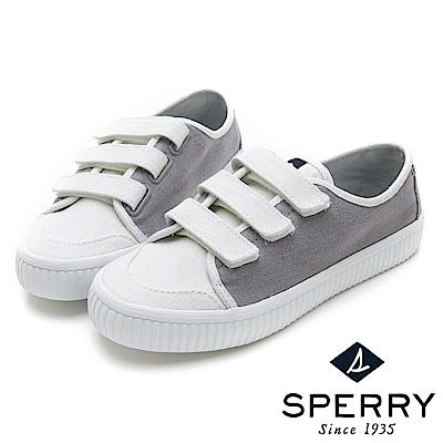 SPERRY 韓版粉嫩俏皮撞色黏扣帶帆布休閒鞋(女)-白/灰