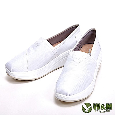 W&M BOUNCE系列 超彈力條格紋增高鞋 女鞋-白(另有光澤黑)