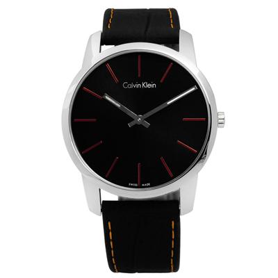 CK  時尚城市簡約壓紋皮革腕錶-黑色/44mm