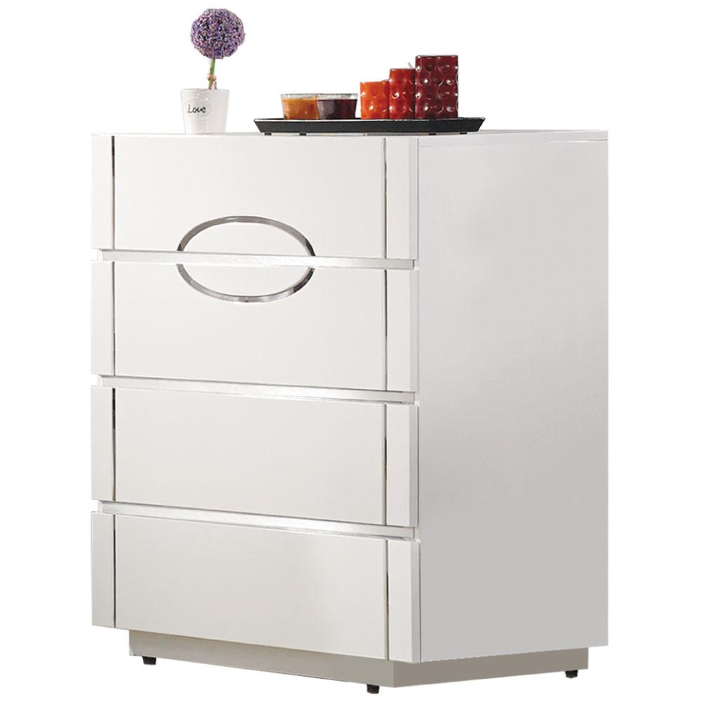 居家生活 芙洛麗2.7尺白色亮烤四斗櫃