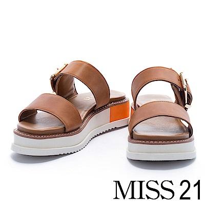 拖鞋 MISS 21 經典隨性方釦牛皮寬帶厚底拖鞋- 咖