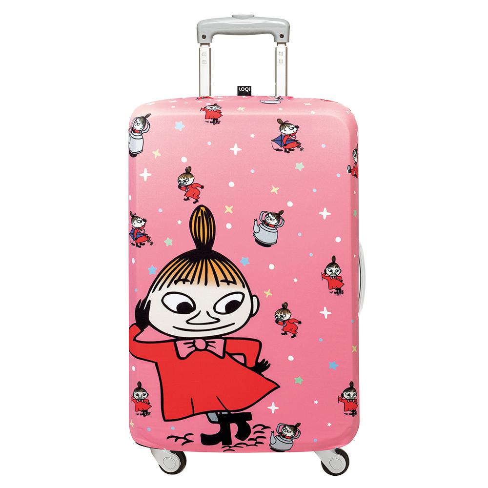 LOQI 行李箱保護套-Moomin小不點粉紅(L號 適用28吋以上行李箱)
