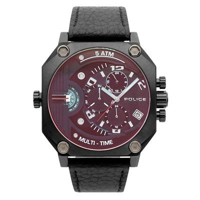 POLICE 叛逆元素雙時區腕錶-15385JSB-02-48mm