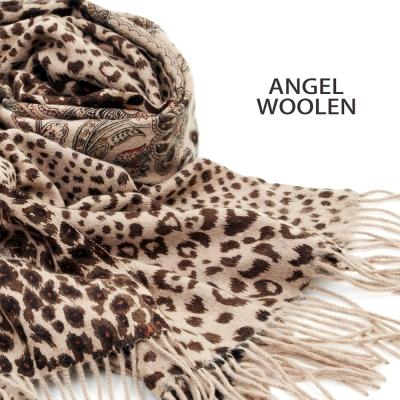 ANGEL-WOOLEN-雙面羊絨厚披肩-戀花豹紋