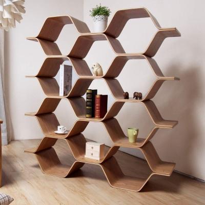 H&D 自然木作蜂巢式四層書架