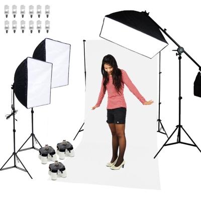 專業攝影棚柔光罩50+70CM三燈無影罩柔光箱攝影燈超亮大全配雙用組合