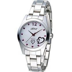 STAR 時代 甜蜜雙心石英錶-白色/33mm