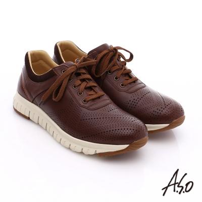 A.S.O 輕量抗震 真皮透氣輕量休閒鞋 咖啡色