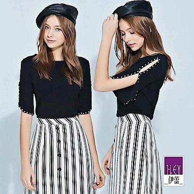 ILEY伊蕾 珍珠造型袖圓領針織上衣(黑)