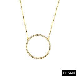 SHASHI 紐約品牌 Circle Pave 鑲鑽大圓滿圈圈項鍊 925純銀鑲18K金