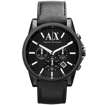 A│X Armani Exchange 時尚三眼計時腕錶-黑/44mm