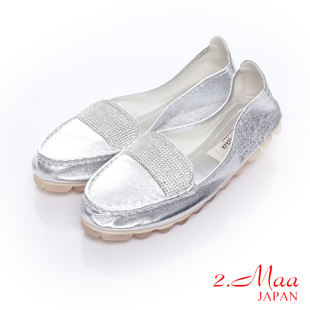 2.Maa 獨家設計師造型潮流貼鑽x金屬風格摺疊樂福鞋-銀