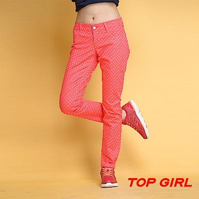 【TOPGIRL】點點鉛筆褲-橘紅色