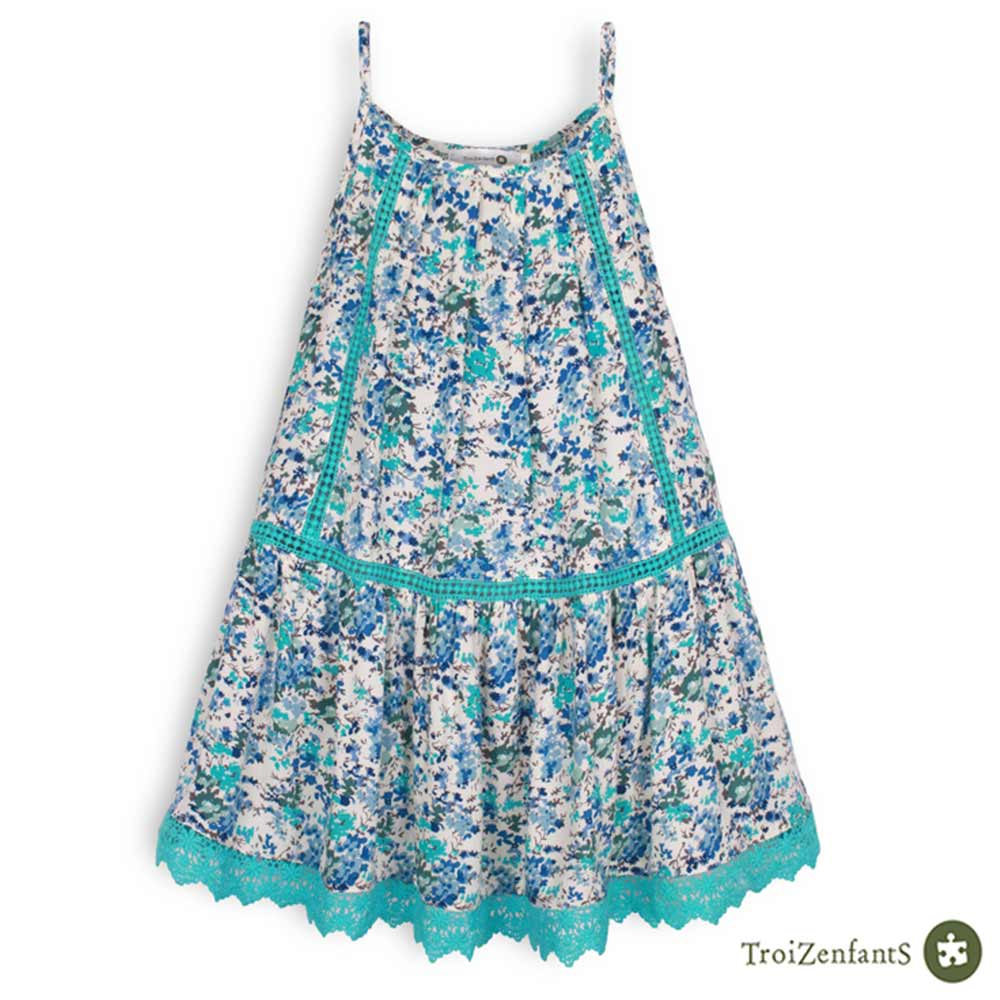 TroiZenfantS 法國精品 藍色碎花細肩帶洋裝
