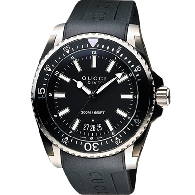 GUCCI Dive 時尚旗艦款200米潛水腕錶-黑/45mm