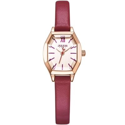 JULIUS聚利時 橡樹風情立體切割鏡面皮帶錶-粉紅x優雅紅/20.5X18mm