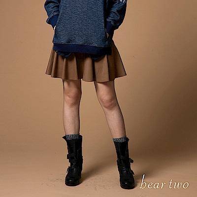 beartwo 俏麗拼接迷你波浪圓裙(二色)