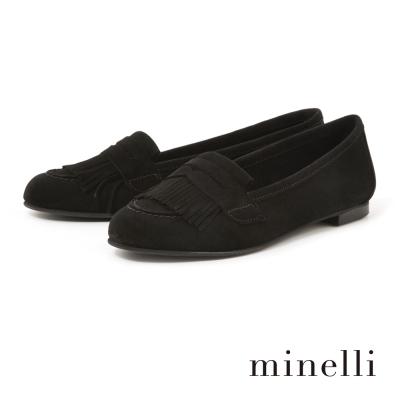 Minelli--流蘇樂福平底鞋-簡約黑