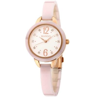 Mango 可愛甜心晶鑽陶瓷腕錶-粉色/玫瑰金-30mm