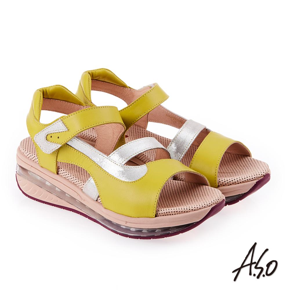 A.S.O 超能力 金箔亮麗拼接皮革輕量奈米鞋墊休閒涼鞋 黃色