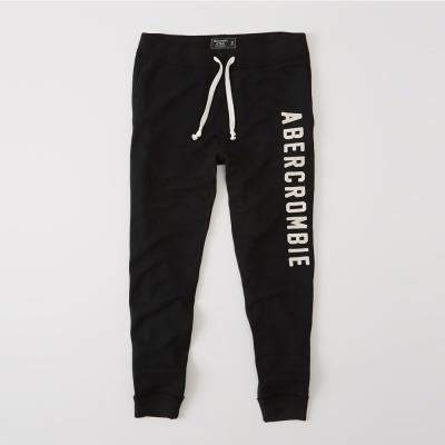 A-F-經典文字刺繡長棉褲-黑色-AF-Abercrombie