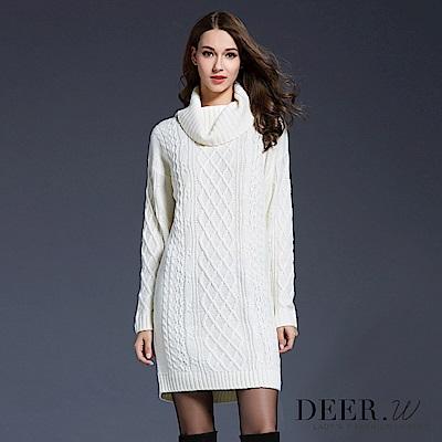 DEER.W 高領麻花織紋毛衣連身裙(共五色)