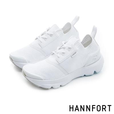 HANNFORT Bounce針織襪套休閒鞋-女-率性白8H
