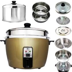 天蠶10人份間熱式電鍋YL-10A-3(304加高電鍋蓋.內鍋.懸空內鍋.鍋蓋2高1低蒸盤