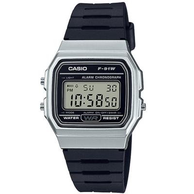 CASIO 運動小子電子錶(F-91WM-7A)-黑x銀框-35mm