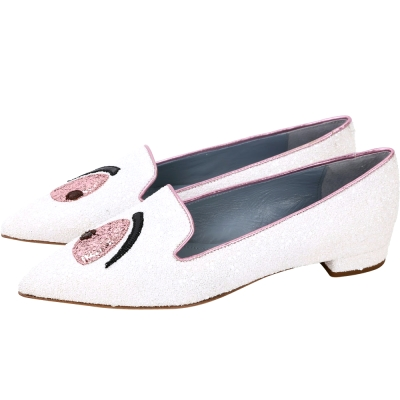 Chiara Ferragni Wonderland Eyes 尖頭樂褔鞋(白色)