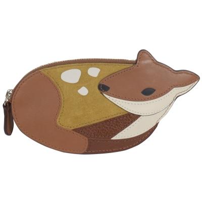 COACH-可愛動物造型全皮革拉鍊零錢包-咖