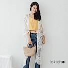 東京著衣 浪漫刺繡薄紗長版罩衫(共一色)