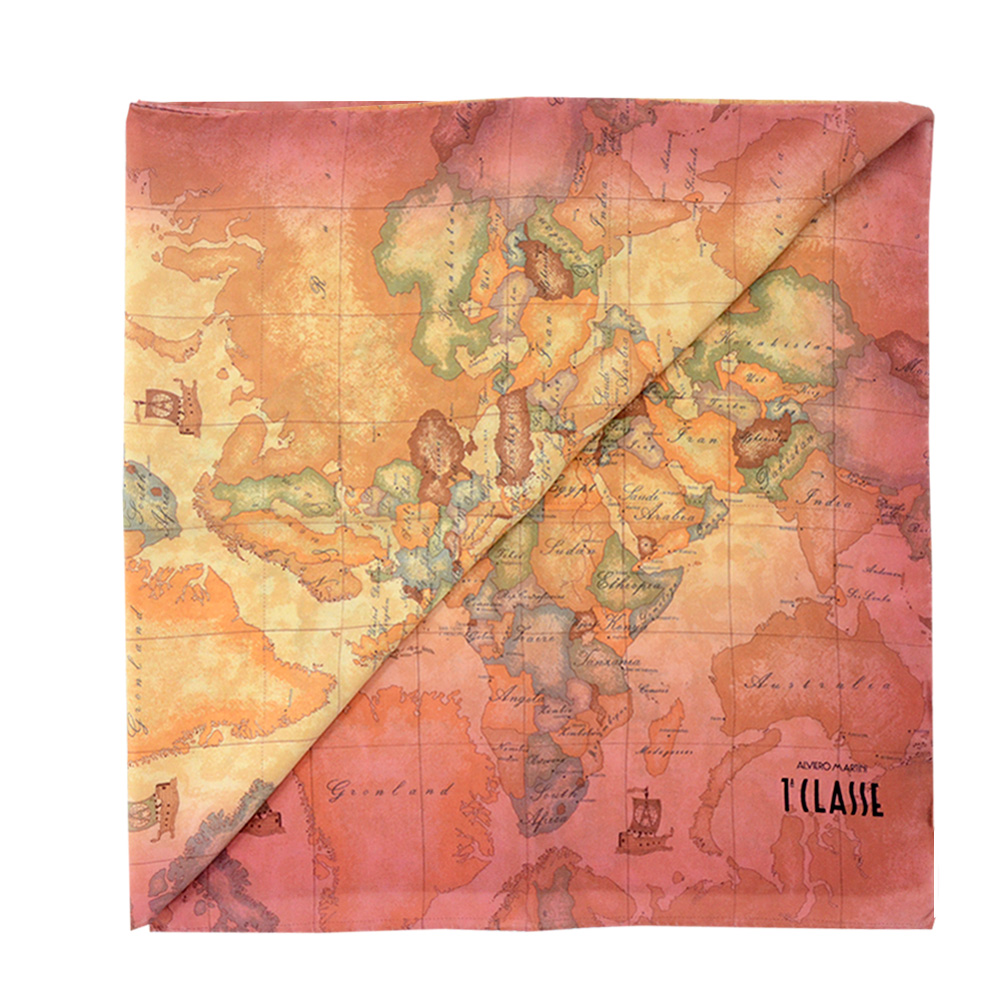 Alviero Martini 義大利地圖 地圖渲染絲巾-紅/地圖黃 (45X180)