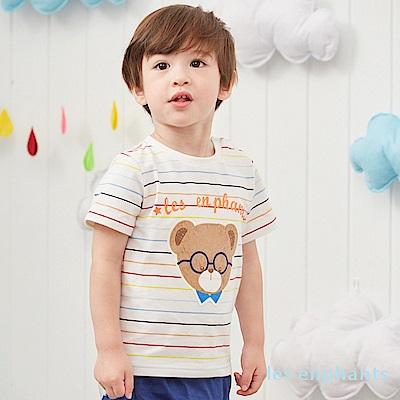 les enphants baby熊先生彩色條紋圓領上衣 (2色可選)
