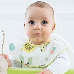 Baby unicorn 太陽花造型純棉雙面圓形圍兜口水巾