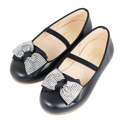Swan天鵝童鞋-蝴蝶結水鑽樂福鞋 3765-黑