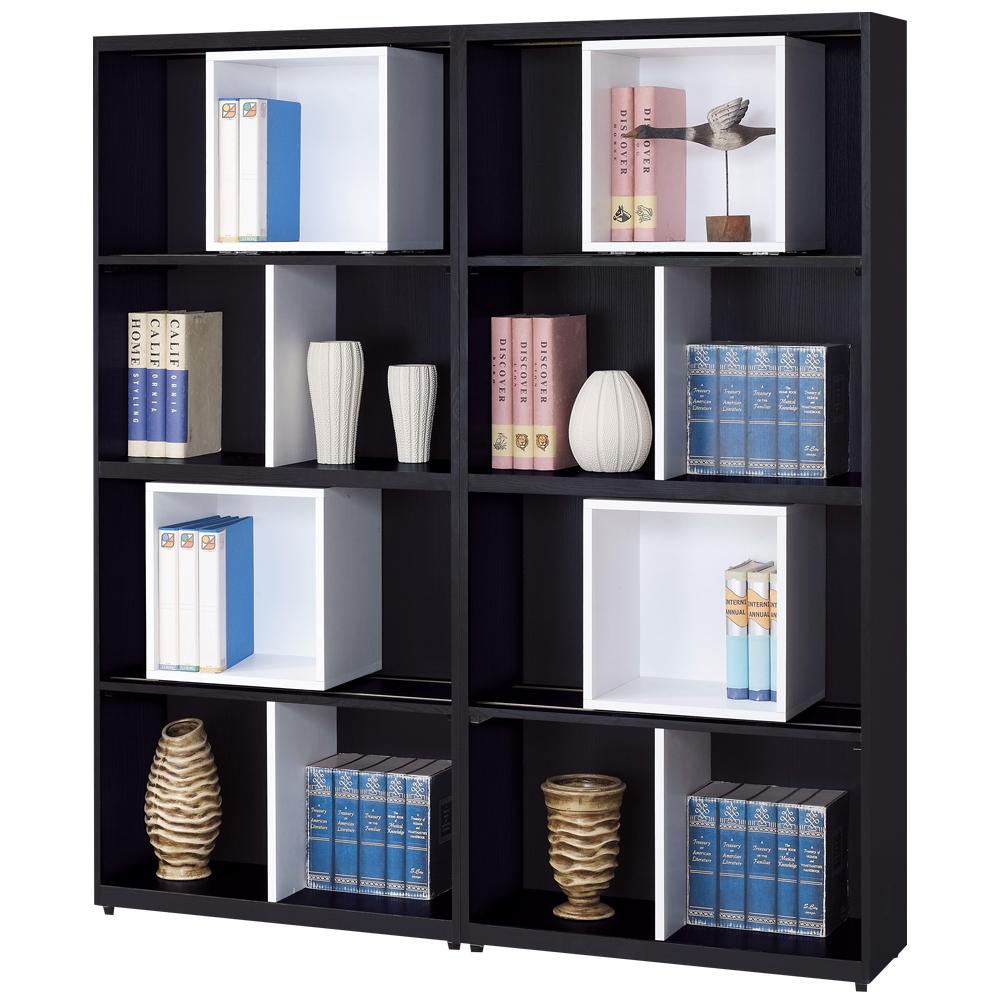 時尚屋 黑白配5.3尺開放書櫃 寬161.2cm