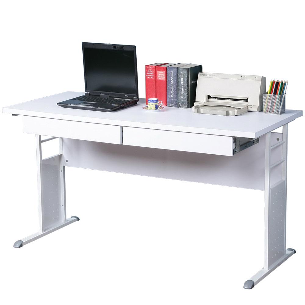 Homelike 巧思140x60辦公桌(附二抽屜)-白桌面/亮白桌腳