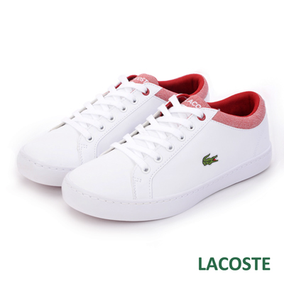 LACOSTE 女用休閒鞋-白/紅
