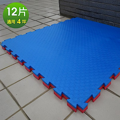 Abuns 百大特厚4CM紅藍雙色榻榻米紋運動地墊-12片(適4坪)